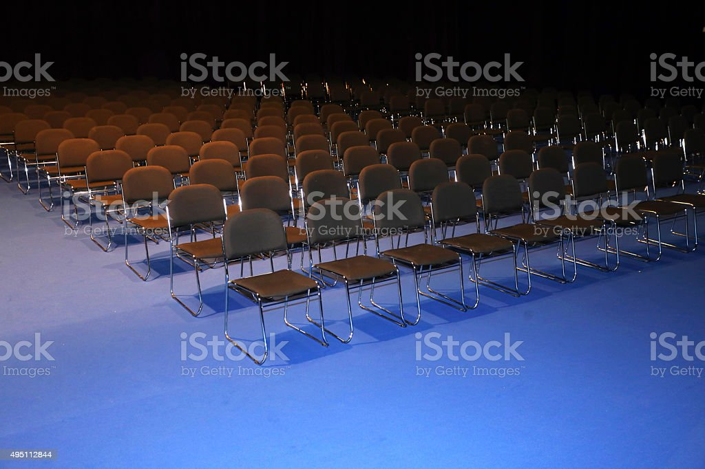 Rows of chairs in a modern conference hall stock photo