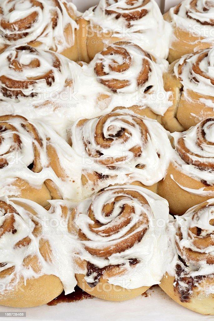rows of cinnamon buns royalty-free stock photo