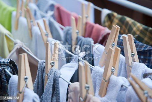 Close up on clothes on drying rack
