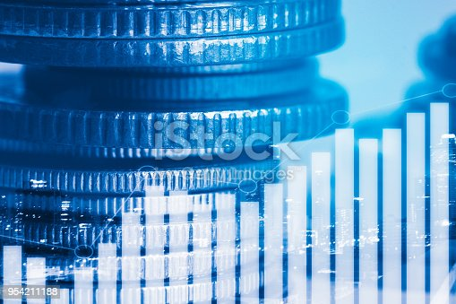 850495466 istock photo Rows of coin and graph of stock market trade indicator financial for investment strategy. 954211188
