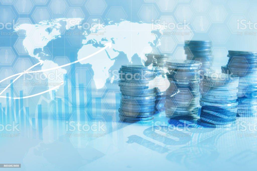 Reihen von Münzen, Wirtschaft, Finanzen und Banking-Konzept – Foto