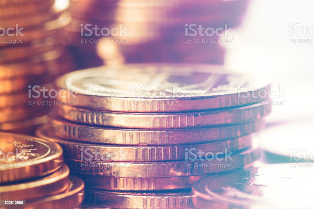 Reihen von Münzen, verwendet für Banking und Finance-Konzept – Foto