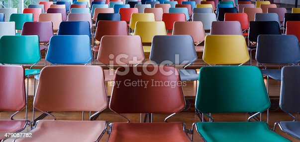 istock Rows of colorful chairs 479087782