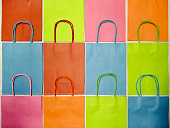 Rows of colorful paper bags