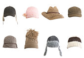 istock Rows of different kinds of hats against white background 104654763