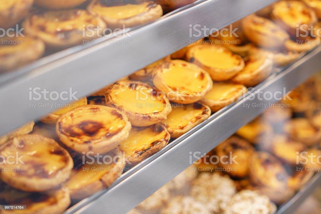 Reihen Von Eitorte Traditionelle Portugiesische Sussspeise Pasteis De