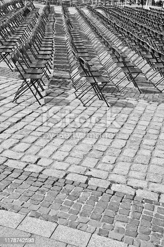 istock Rows of empty black seats 1178742593