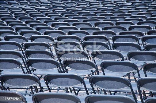 istock Rows of empty black seats 1178742842