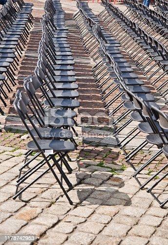 istock Rows of empty black seats 1178742953