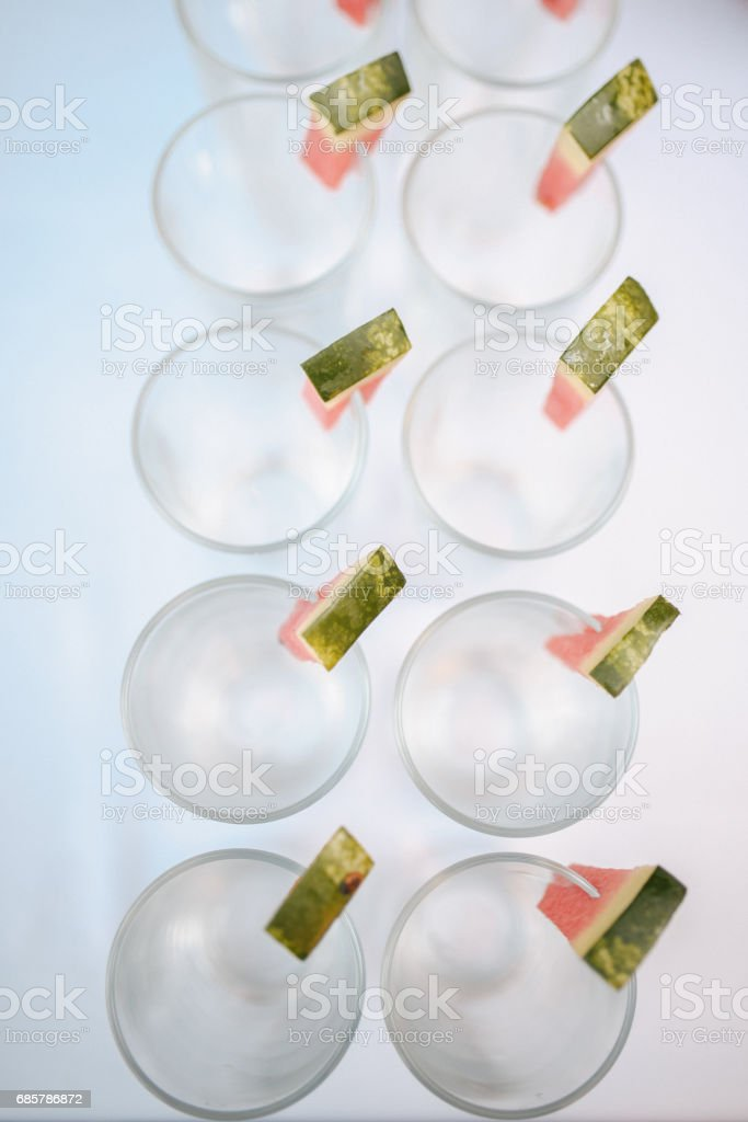 Rows of empty glasses prepared for reception royalty-free stock photo