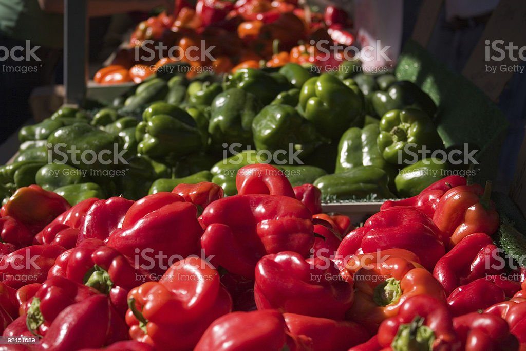 Rows of fresh peppers royalty-free stock photo
