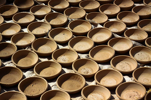 Rows of freshly made pots stock photo