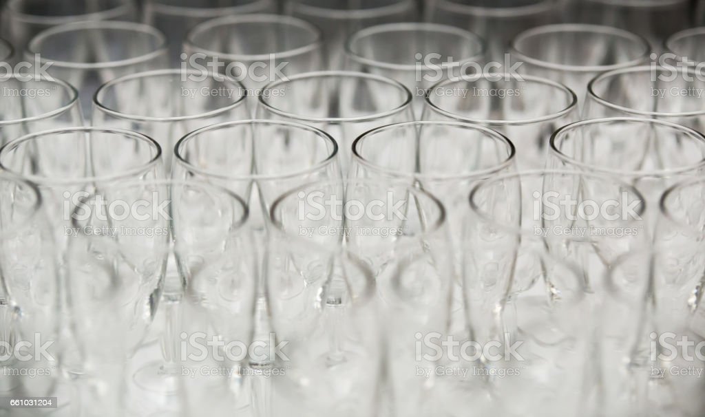 rows of glasses stock photo