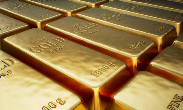 Rows of Gold bars. Financial concept. stock photo