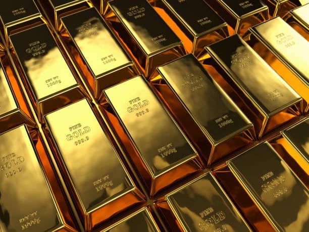 Reihen von Goldbarren – Foto