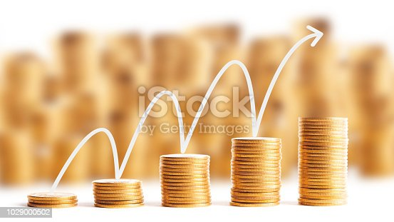 istock Rows of gold coins for finance and banking concept 1029000502