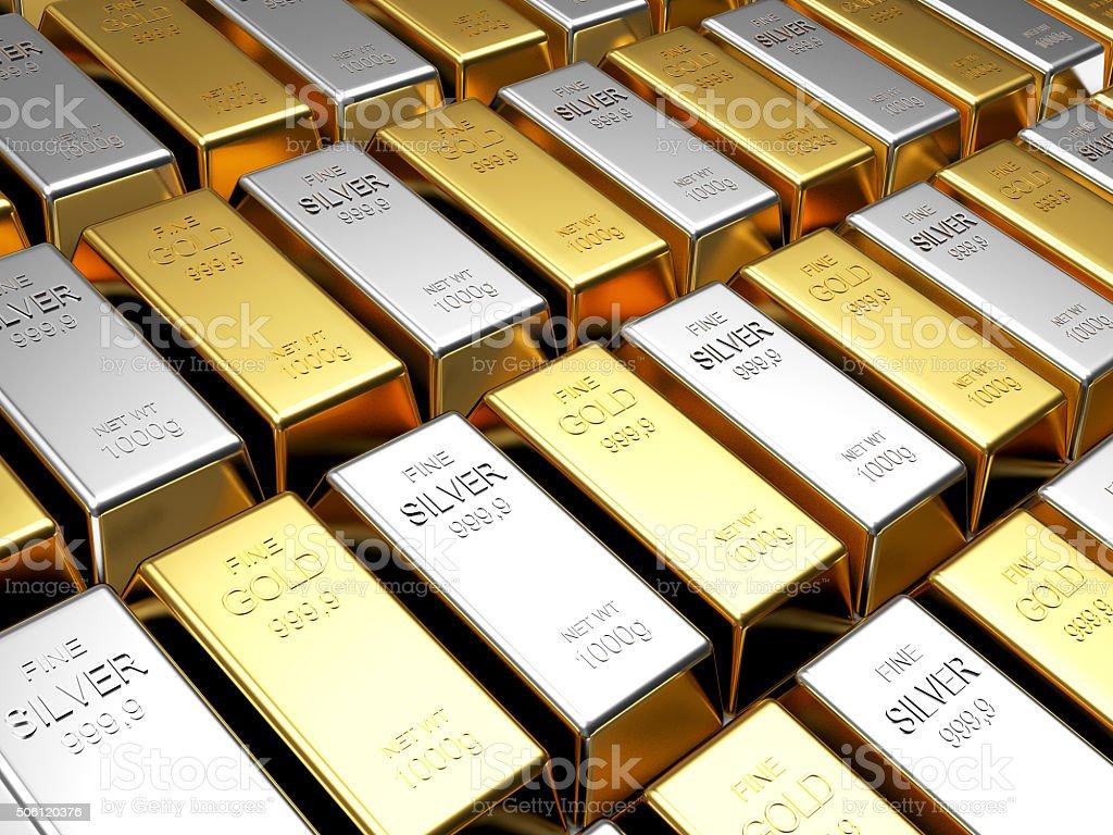 Linhas de barras de ouro e prata - foto de acervo