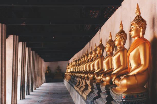"""ayutthaya historical park, ayutthaya, tayland wat phutthaisawan tapınağı etrafında altın meditasyon buddha resim heykelleri satırları. vintage fotoğraf ve film stlye. """" n - ayutthaya bölgesi stok fotoğraflar ve resimler"""
