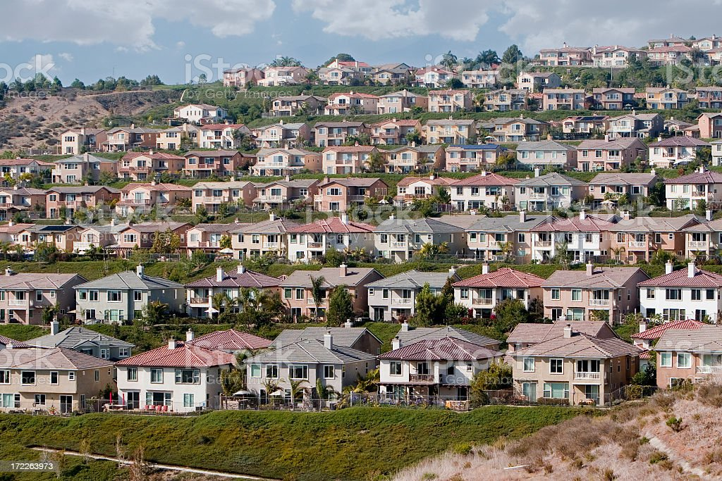Rows of houses in Orange County royalty-free stock photo