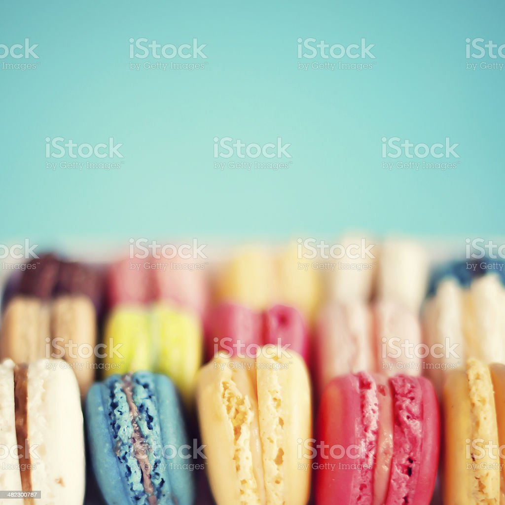 Rows of Macaroons stock photo