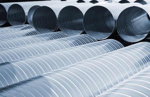 Rows of new metallic ventilation tubes