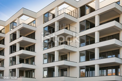 Rows of flats in modern residental building.