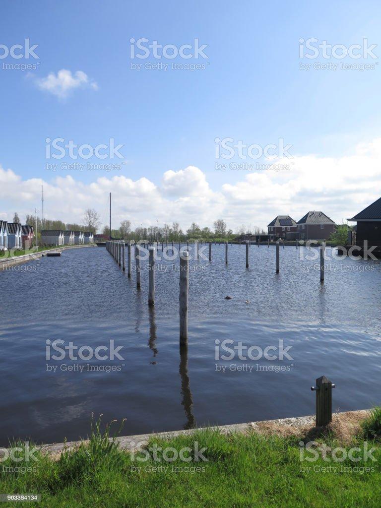 Rows of Mooring posts in inner harbor in Dutch fishing village - Zbiór zdjęć royalty-free (Bez ludzi)