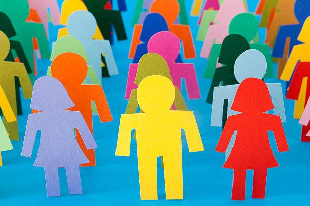 rows of multicolored people - stick figure stock photos and pictures