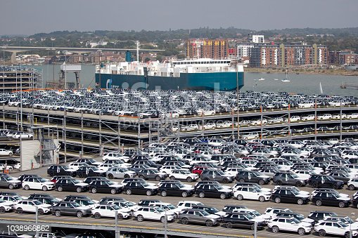 Southampton, England - 31st August 2018 - Rows of new British produced cars waiting at Southampton docks to be exported around the world via cargo ship.