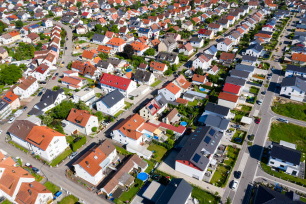 Rows of New Houses Viewed from Above stock photo