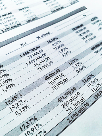 Rows of numbers from an accounting document