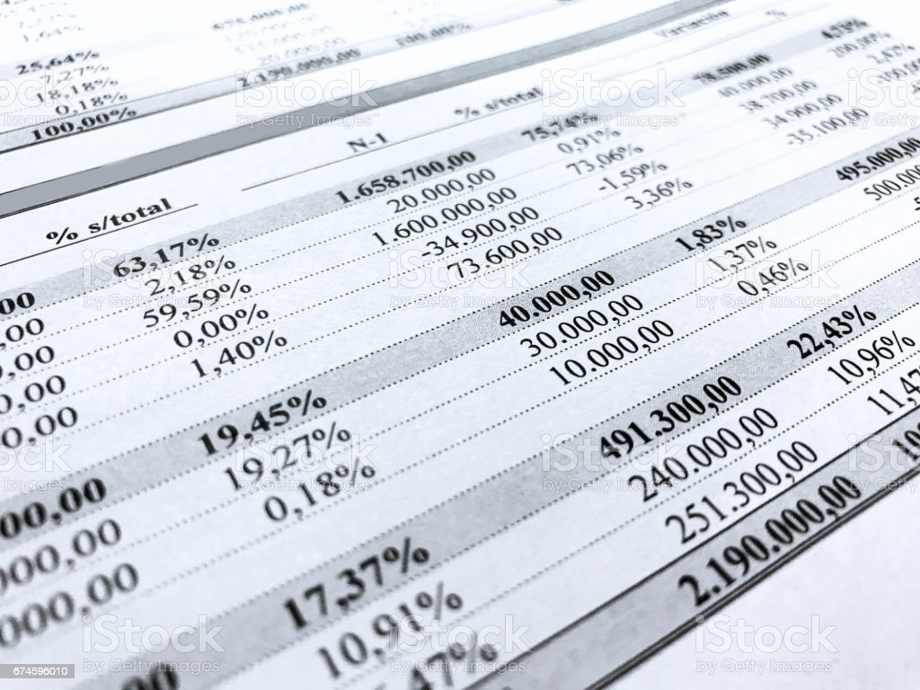 Rows of numbers from an accounting document stock photo