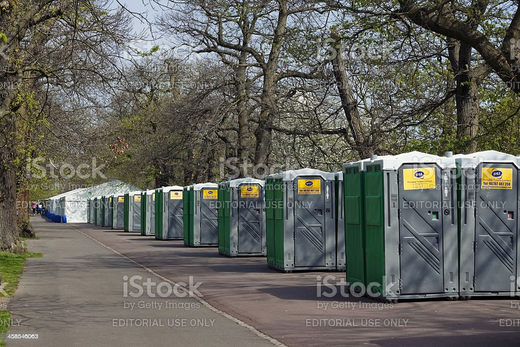 Rows of portable toilets for the London Marathon stock photo