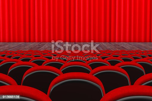 istock Rows of Red Cinema or Theater Seats in front of Cinema or Theater Scene with Red Curtain. 3d Rendering 912665128
