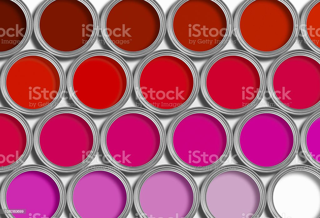 Rows of red open paint tins on white royalty-free stock photo