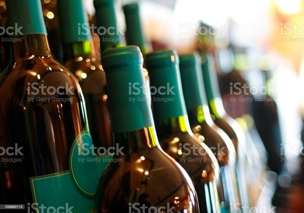 Rows of Red Wine Bottles - Natural Light royalty-free stock photo