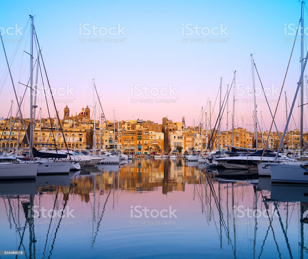 Rows of sailing boats on Senglea marina, Malta stock photo