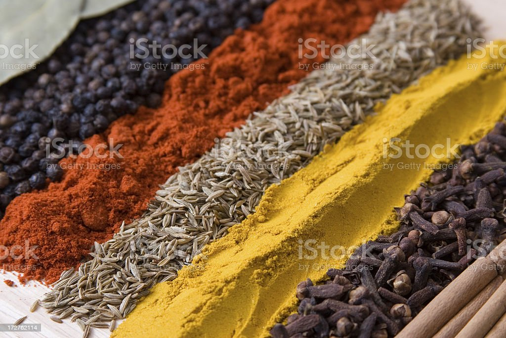 Rows of spices 3 stock photo