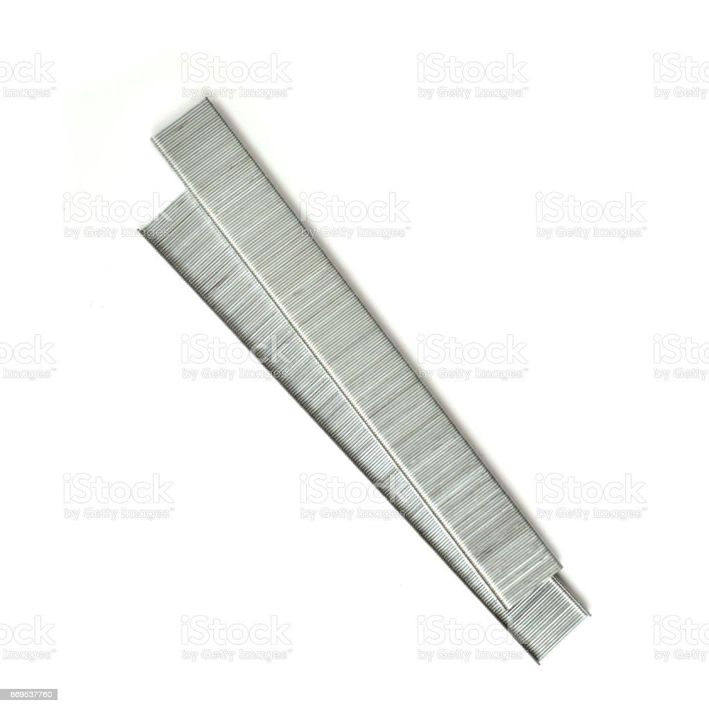 Rows of staples stock photo