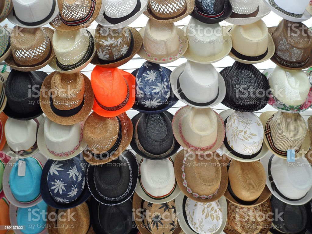 Rows of Straw Hats For Sale stock photo