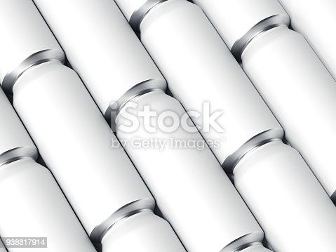 istock Rows of white beer cans. 3d rendering 938817914