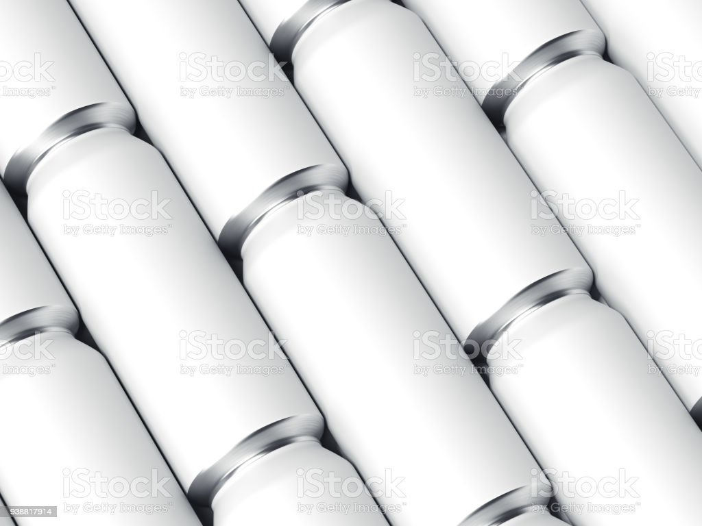Rows of white beer cans. 3d rendering stock photo
