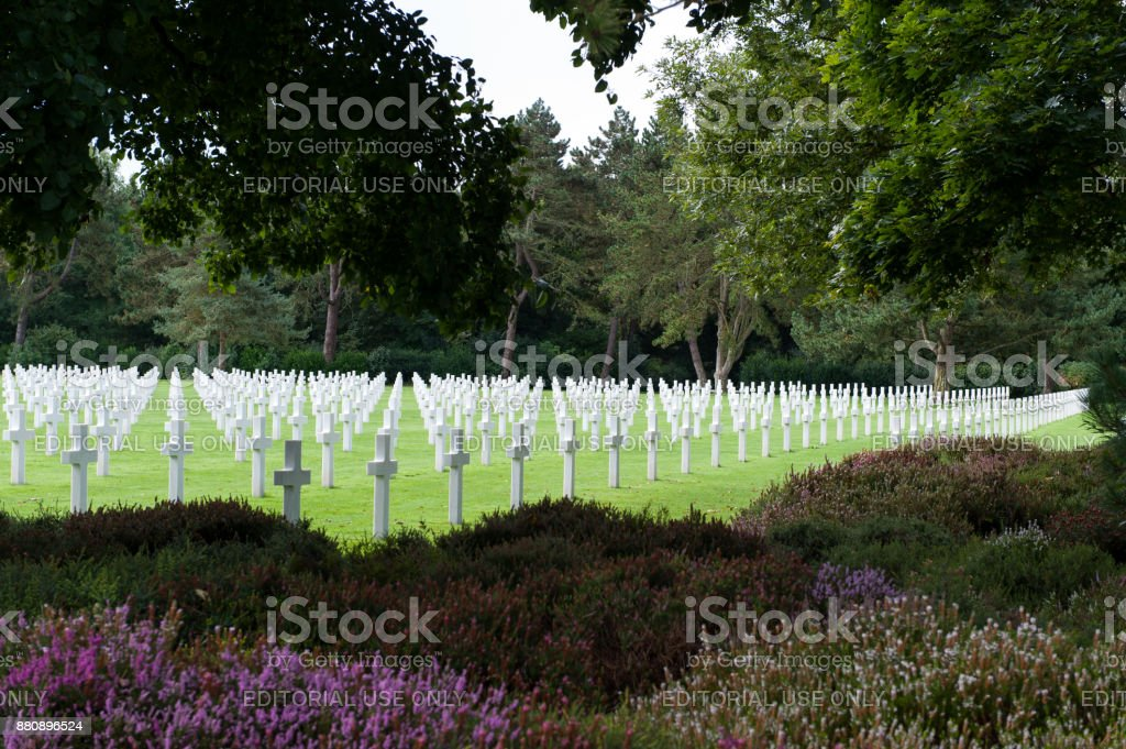 Rows of white crosses at the American Cemetery at Omaha Beach stock photo