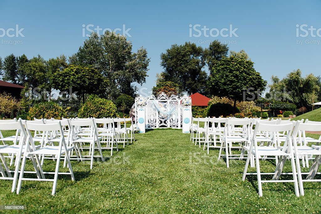 Rows Of White Folding Chairs On Lawn Stock Photo Download Image Now Istock