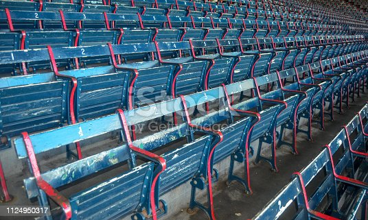 Blue and red wood stadium seats