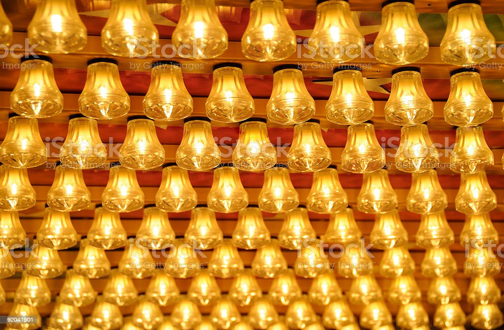 Rows small glowing light bulbs amusement park royalty-free stock photo