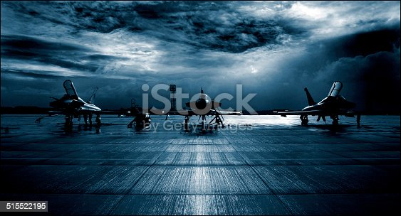 istock Royal Air Force RAF Typhoon Eurofighter, runway, dramatic stormy clouds. 515522195