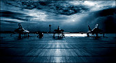 Royal Air Force RAF Typhoon Eurofighter, runway, dramatic stormy clouds.