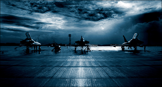 Royal Air Force Raf Typhoon Eurofighter Runway Dramatic Stormy Clouds Stock Photo - Download Image Now
