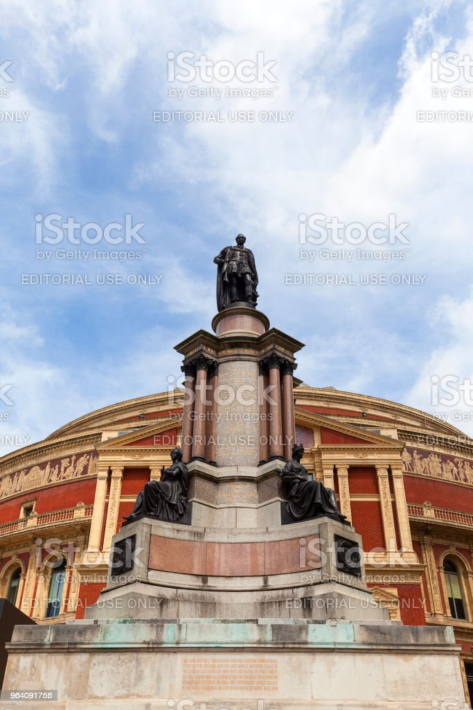 Royal Albert Hall, a concert hall dedicated to the husband of Queen Victoria, Prince Albert, The statue of Albert , London, United Kingdom - Royalty-free Albert Memorial - Kensington Gardens Stock Photo